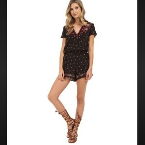 Free People Song For You Embroidered V Neck Romper